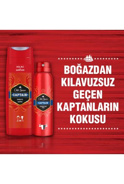 Old Spice Duş Jeli 400 ml + Sprey Deo 150 ml x 2 Captain