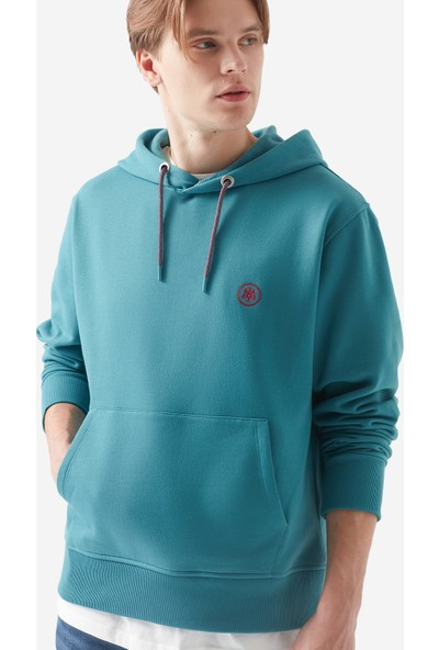 Mavi Erkek Mavi Logolu Kapüşonlu Yeşil Sweatshirt 065809-30708