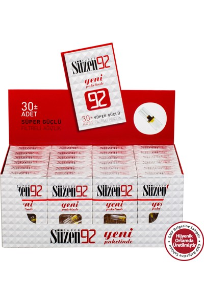 Süzen 92 Sigara Filtresi Ağızlık 30 x 24' lü 720 Adet