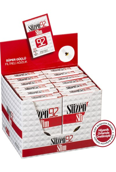 Süzen92 Slim&Ultra Slim Sigara Filtresi Ağızlık 12x30 luk Paketinde, 12 x (27 Slim Filtre+3 Ultra Slim Adaptör)