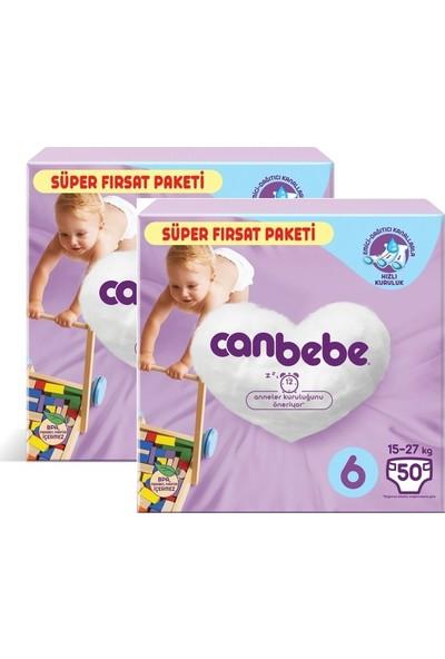 Canbebe Bebek Bezi 6 Beden 2 x 50'li (100 Adet)