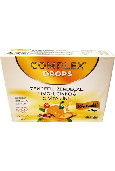 Complex Drops Bitkisel Boğaz Pastili Zencefil, Zerdeçal, Limon, Çinko & C Vitaminli 24 Drops