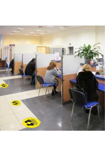 Fercom Mesafenizi Koruyun Uyarılı Yapışkanlı Yer Folyo Sticker 35 x 35 cm 6'lı