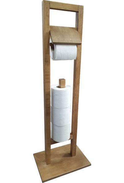 Lorin Ahşap Ayaklı Tuvalet Standı 4'lü Yedekli Wc Kağıtlık