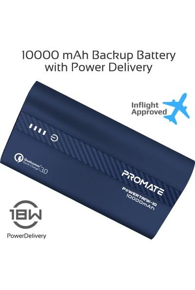 Promate Powertank-10 PowerBank 10000mAh 18W QC 3.0 Hızlı Şarj USB ve Type-C