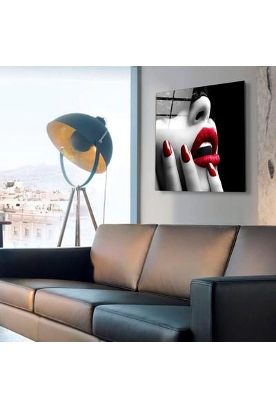 Camex Kırmızı Renk Detaylı Cam Tablo