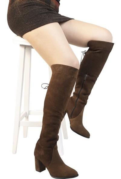 Hobby Taba Topuklu Kadın Çizme SS12255