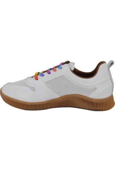 Messimod Beyaz Deri Kadın Ayakkabı 3520