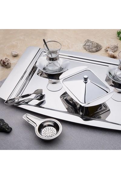 Nehir Gondol 12'li Çelik Çay Tabagı