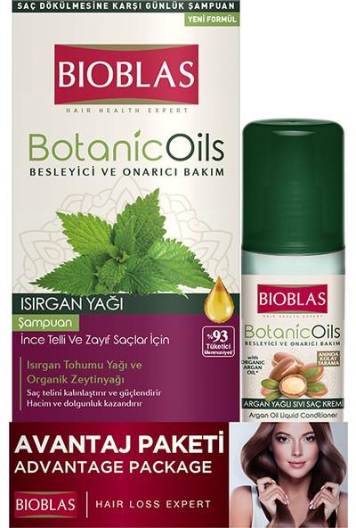 Bioblas Isırgan Yağ Şampuan 360 ml - Argan Yağı Sıvı Saç Kremi 200 ml