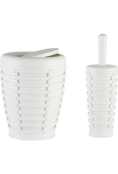 Primanova Palm Beyaz Kapaklı Kova Tuvalet Fırça Set