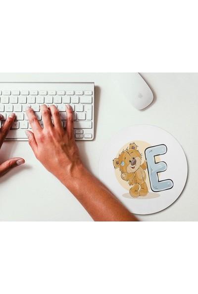 Wuw Ayıcık Desenli E Harfli Yuvarlak Mouse Pad
