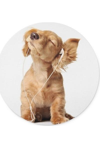 Wuw Müzik Dinleyen Köpek Yuvarlak Mouse Pad