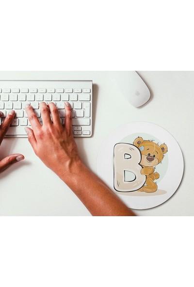 Wuw Ayıcık Desenli B Harfli Yuvarlak Mouse Pad