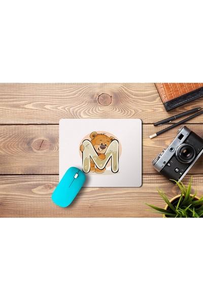 Wuw Ayıcık Desenli M Harfli Mouse Pad