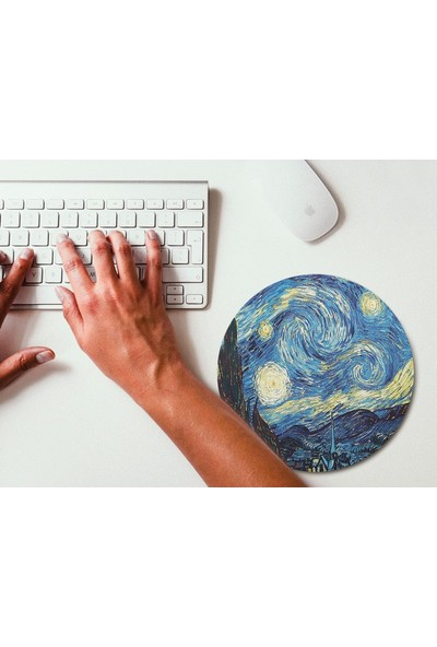 Wuw Van Gogh Yıldızlı Gece Yuvarlak Mouse Pad