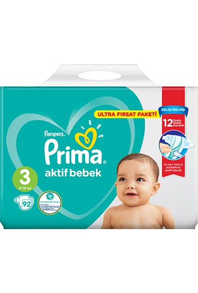 Prima Bebek Bezi Aktif Bebek 3 Beden 92 Adet Ultra Fırsat Paketi
