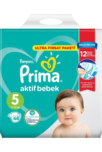 Prima Bebek Bezi Aktif Bebek 5 Beden 68 Adet Ultra Fırsat Paketi