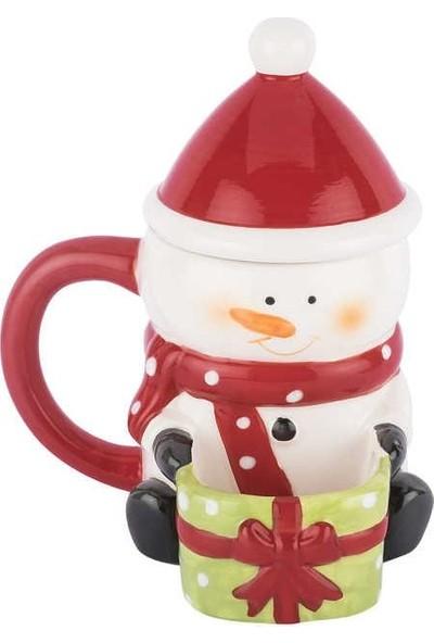 Tantitoni Seramik Snowman Kapaklı Kupa