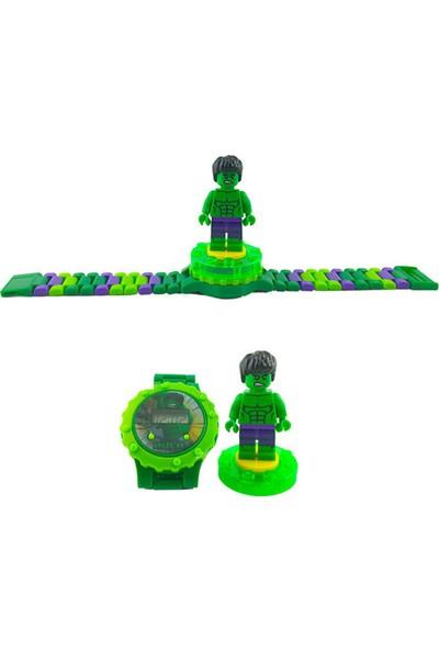 Can Ali Toys Süper Hero Hulk, 360 Derece Dönebilen LEGO Figürlü, Aksesuarlı Çocuk Kol Saati Seti