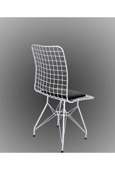 Hepsi Home Tel Sandalye 4'Lu Beyaz