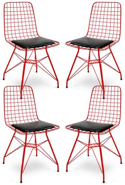 Hepsi Home Tel Sandalye 4'Lu Kırmızı
