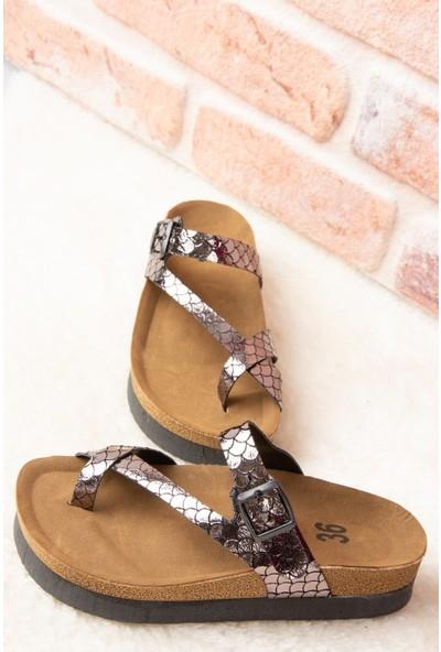 Fox Shoes Platin Kadın Terlik B777753007