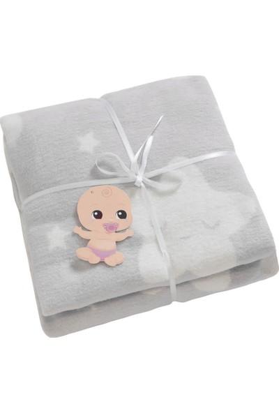 Dolce Bonita Home Pamuklu Bebek Battaniye Star Açık Gri