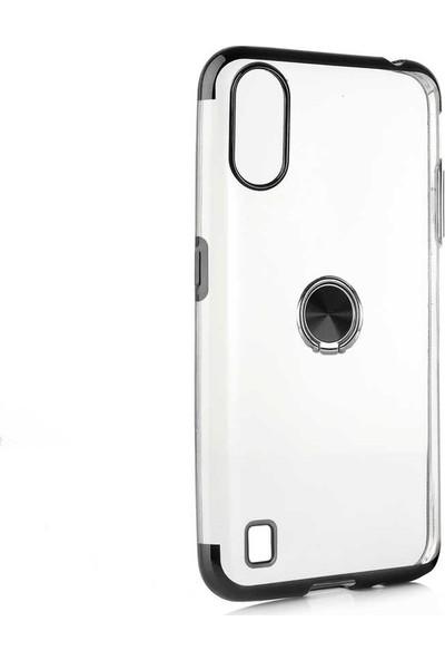 Tbkcase Samsung Galaxy A01 Kılıf Lazer Yüzüklü Silikon Siyah
