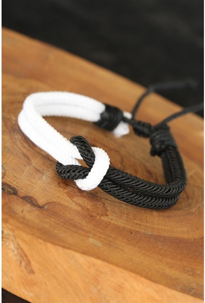 Bu Farklı Siyah Beyaz Gemici Düğümlü Asansör İpli Erkek Bileklik
