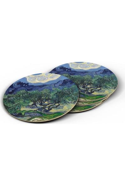 Bi Tıkla Gelsin Van Gogh Olive Trees Baskılı Yuvarlak Bardak Altlığı Seti - UNL042Y