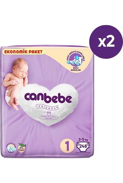 Canbebe Bebek Bezi 1 Beden / Yeni Doğan Aylık Paket 496'LI