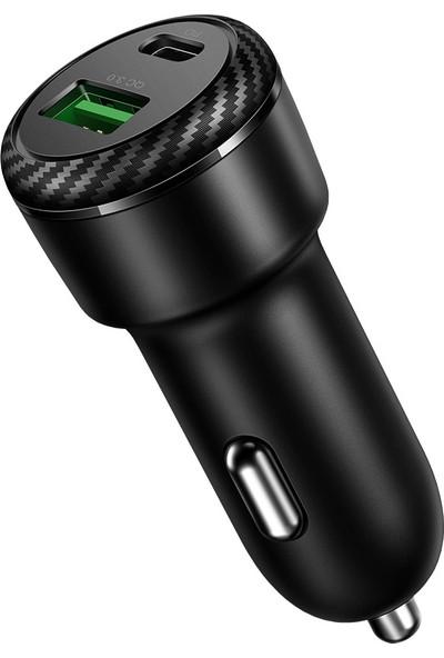 Mcdodo Mdd Çift Bağlantı Noktalı Araç Şarj Cihazı Lingbo Serisi Qc3.0 + Pd Siyah (Yurt Dışından)
