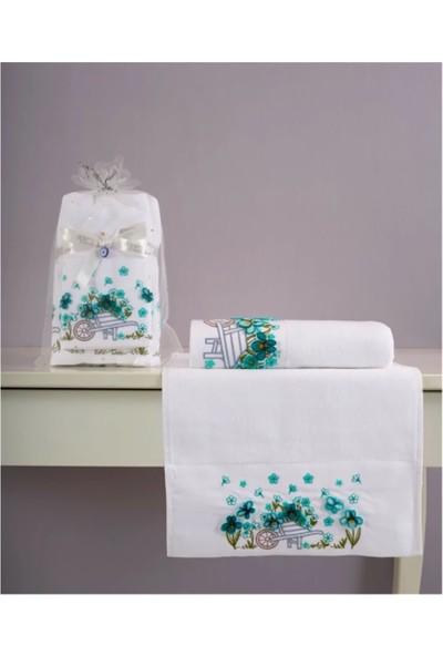 Fiesta Garden Analı Kızlı 30 x 50 cm ve 50 x 90 cm Tufting Havlu Beyaz Mint