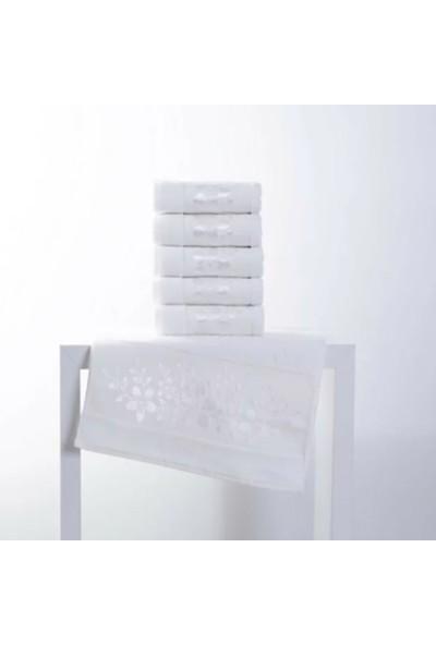 Fiesta 50 x 90 cm Soft Kadıfe Jakarlı Havlu 12'li ve Beyaz ve Standart Beyaz