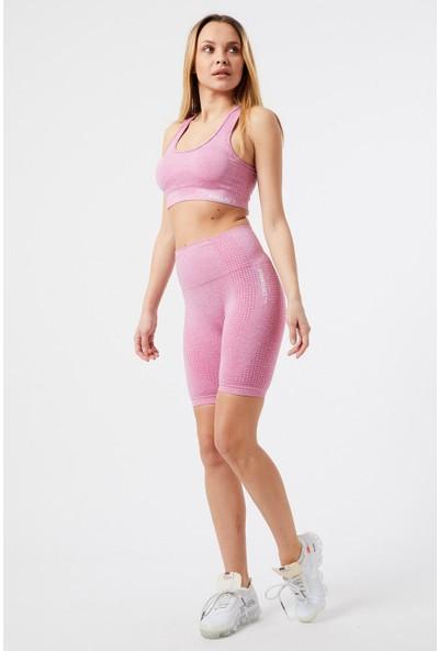 Gymwolves Kadın Spor Şort Aktivated Serisi Pink Dikişsiz Spor Şort Woman Sports Sorts