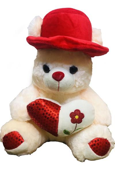 Can Ali Toys Kırmızı Şapkalı Kalpli Peluş Ayıcık