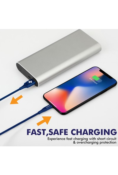 Promate Nervelink-i Şarj ve Data Kablosu MFI Lisanslı Lightning USB Örgülü 1,2 metre