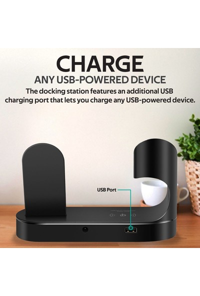 Promate Powerstate Şarj İstasyonu MFI Lisanslı Wireless Kablosuz Şarj Lightning ve USB Girişi