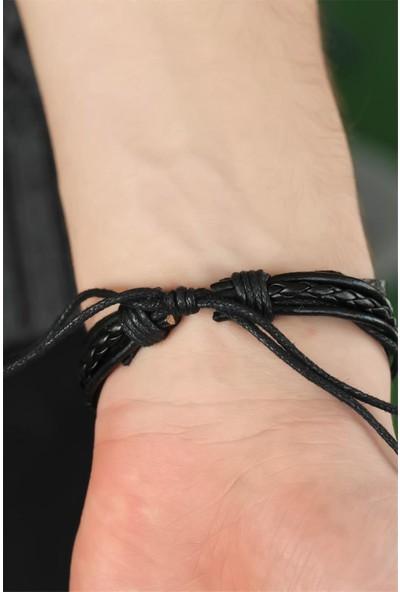 Bu Farklı Sol Anahtarlı Siyah Renk Deri Erkek Bileklik - BF16924