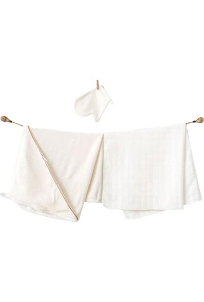 Andywawa Kız Bebek 3'lü Towel Havlu Takımı - Ekru