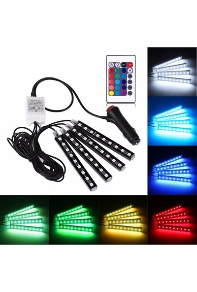 Unikum 9 Ledli Rgb Multicolor Flaş Işık Ayarlı Atmosfer Ayak Altı LED