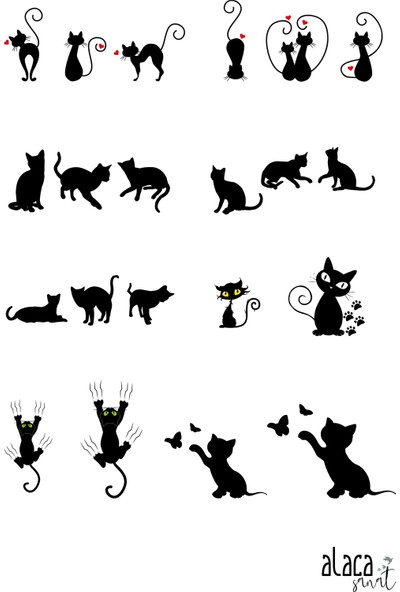 Alaca Sanat Epoksi Hobi Kedi ve Doğa Figürü Şeffaf Sticker