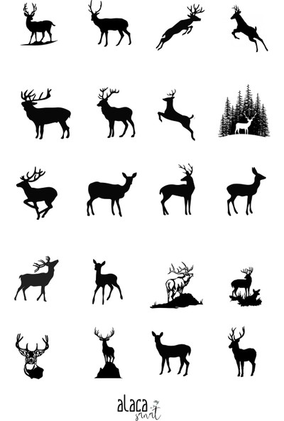 Alaca Sanat Epoksi Reçine Geyik ve Hayvan Figürlü Şeffaf Sticker Seti