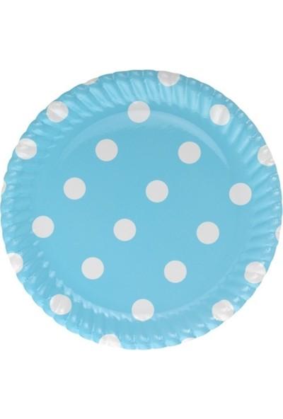 Bkr Karton Tabak Mavi Puanlı 23 cm 32'li