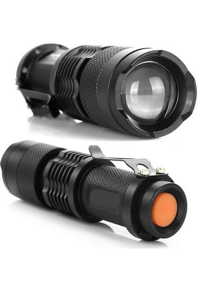 Shaver Su Geçirmez Ultra Güçlü Şarjlı El Feneri 2300 Lumens Q5 + Şarjlı Pil Km-87, Işıldak, Kamp Feneri, Çadır Lambası