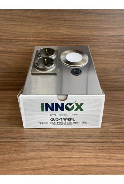 İnox Tezgahaltı Prizli LED Armatür Gri