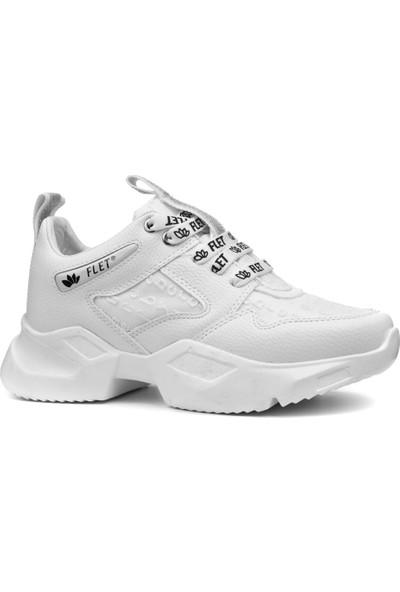 Flet 6445 Beyaz Armürlü Kalın Taban Kadın Sneaker