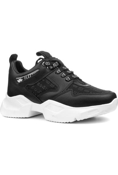 Flet 6445 Siyah Armürlü Kalın Taban Kadın Sneaker