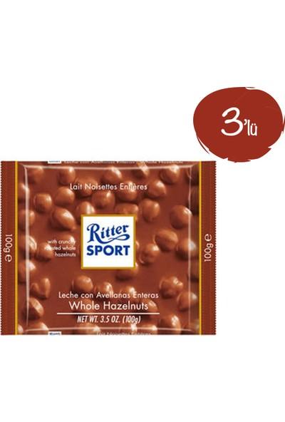 Ritter Sport Fındıklı Tablet Çikolata 100 G - 3 Paket